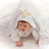 Работы для детей, handmade. Livemaster - original item Towel-Terry area with a Golden cross. Handmade.