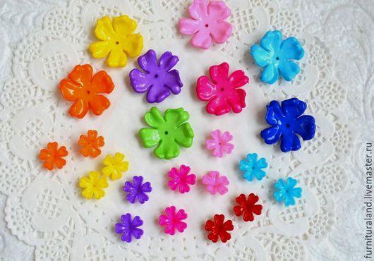 Для украшений ручной работы. Ярмарка Мастеров - ручная работа. Купить Разноцветные акриловые цветочки, большие и маленькие.. Handmade. Цветочки