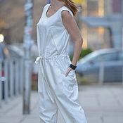Одежда ручной работы. Ярмарка Мастеров - ручная работа Белый модный комбинезон. Handmade.