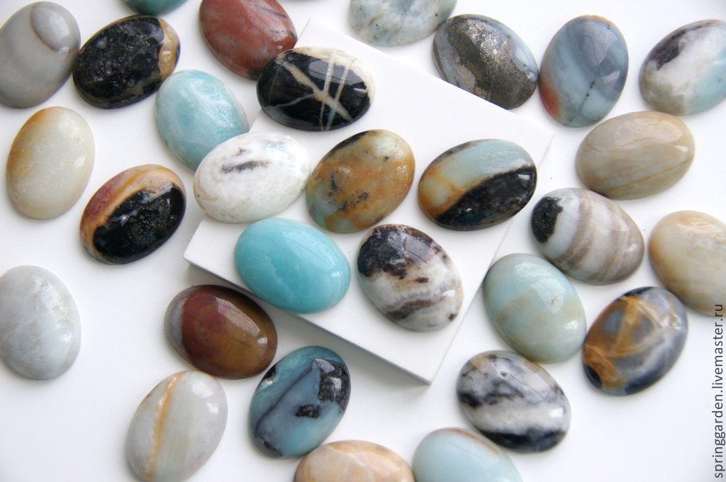 Для украшений ручной работы. Ярмарка Мастеров - ручная работа. Купить Амазонит кабошон натуральный камень ,овал . Handmade. Голубой