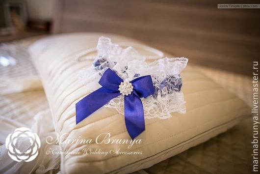 Свадебные аксессуары ручной работы. Ярмарка Мастеров - ручная работа. Купить Подвязка невесты. Handmade. Синий, свадебная подвязка заказ