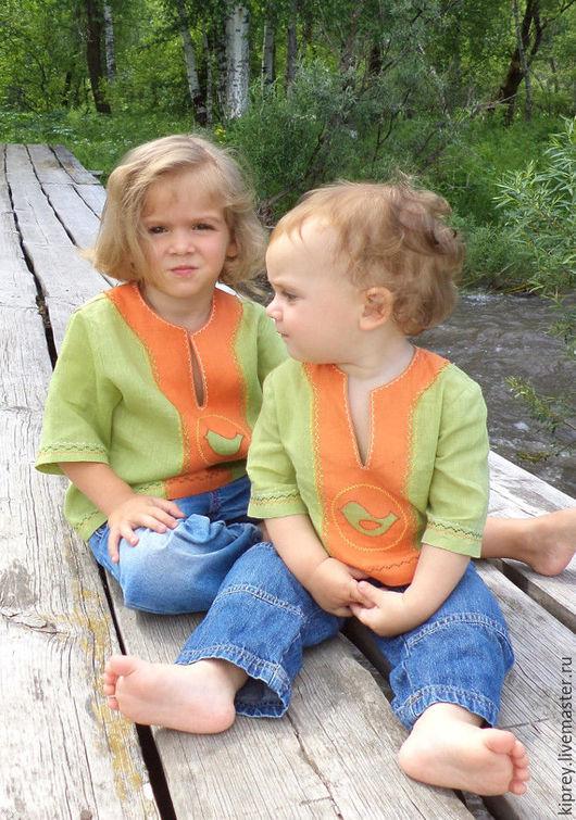 """Одежда унисекс ручной работы. Ярмарка Мастеров - ручная работа. Купить Детская льняная рубашка-разукрашка """"Птичка"""". Handmade. Зеленый"""