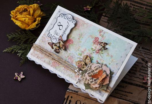 Открытки для женщин, ручной работы. Ярмарка Мастеров - ручная работа. Купить Открытка Весна. Handmade. Комбинированный, розовый