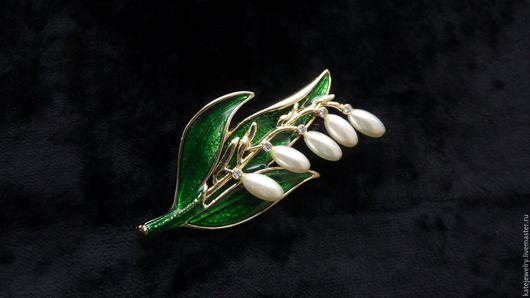 """Винтажные украшения. Ярмарка Мастеров - ручная работа. Купить Брошь  """"Ландыш"""". Handmade. Зеленый, брошь шикарная, весенние цветы брошь"""