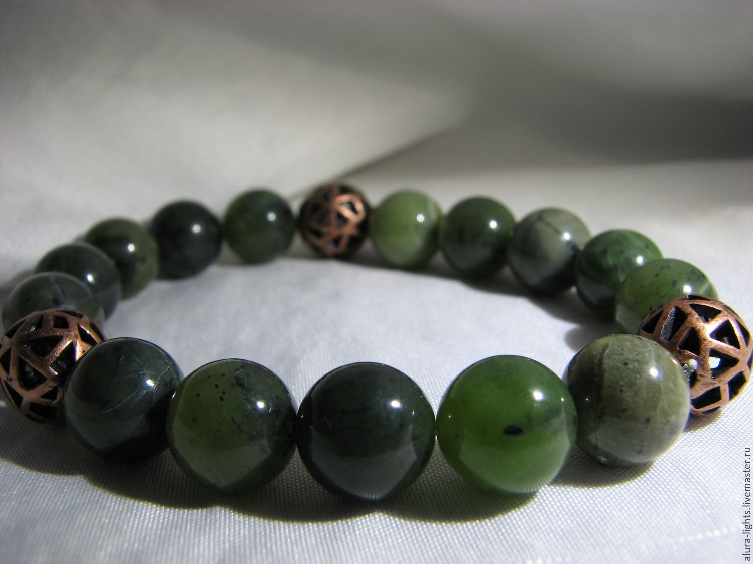 """Bracelet with jade and copper beads """"Game"""", Bead bracelet, Moscow,  Фото №1"""