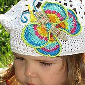 Работы для детей, ручной работы. Ярмарка Мастеров - ручная работа Белый ажурный летний берет с Бабочкой для девочки. Handmade.