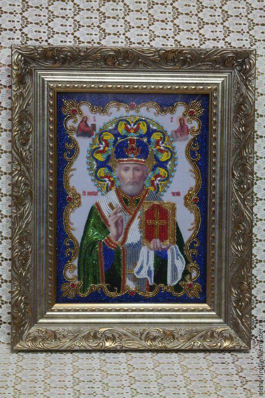 Иконы ручной работы. Ярмарка Мастеров - ручная работа. Купить Икона святого Николая Чудотворца. Handmade. Икона, икона бисером