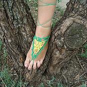 Украшения ручной работы. Ярмарка Мастеров - ручная работа Вязаное ажурное украшение для ног Желтая акация. Handmade.
