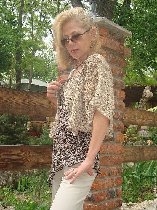 Пиджаки, жакеты ручной работы. Ярмарка Мастеров - ручная работа. Купить ;жакет летний вязаный какао. Handmade. Жакет вязаный