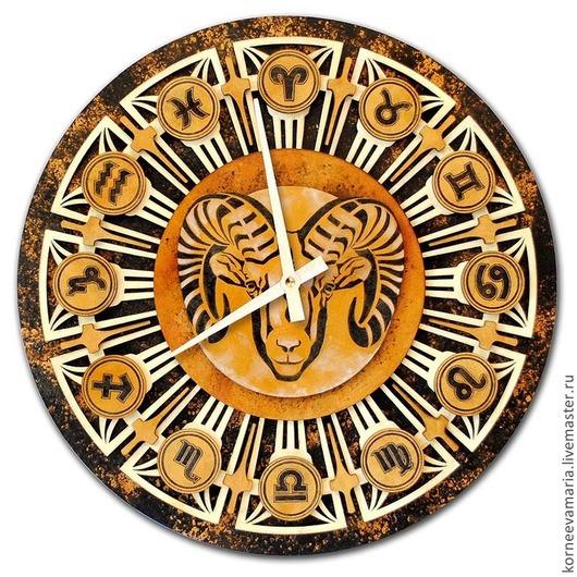 Часы для дома ручной работы. Ярмарка Мастеров - ручная работа. Купить Часы «Зодиак». Handmade. Зодиак, рак, козерог