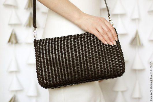 Женские сумки ручной работы. Ярмарка Мастеров - ручная работа. Купить Коричневая кожаная сумка, плетеная сумка, женская коричневая сумка. Handmade.
