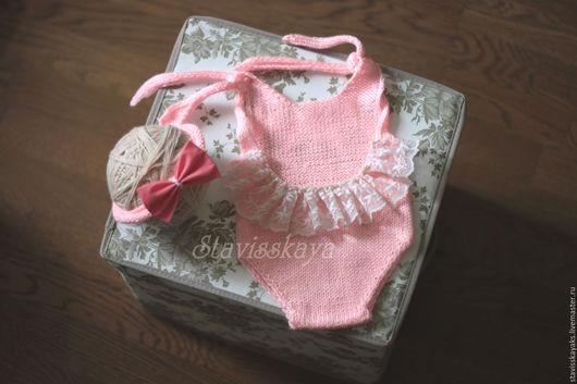 Для новорожденных, ручной работы. Ярмарка Мастеров - ручная работа. Купить Боди и повязка для фотосессии новорожденных. Handmade. Бледно-розовый