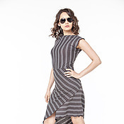 Одежда handmade. Livemaster - original item АГ_014 Mini dress asymmetric narrow brown stripes. Handmade.