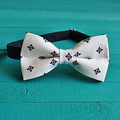 Аксессуары handmade. Livemaster - original item Tie Duke / white bow tie with dark blue pattern. Handmade.