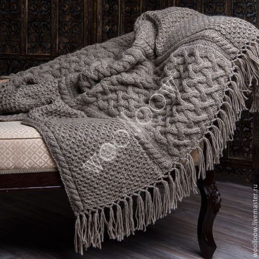 Текстиль, ковры ручной работы. Ярмарка Мастеров - ручная работа. Купить Плед Викинг темный. Handmade. Плед, плед вязаный