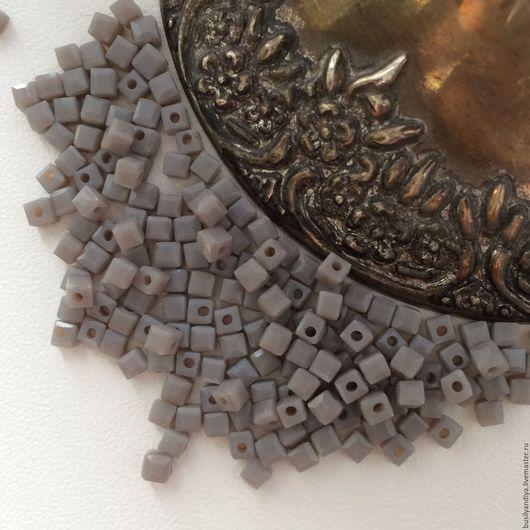 """Для украшений ручной работы. Ярмарка Мастеров - ручная работа. Купить Кубик 2х2мм """"Серый"""". Handmade."""