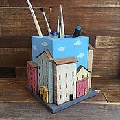 Канцелярские товары handmade. Livemaster - original item Pencil holders: the town. Handmade.