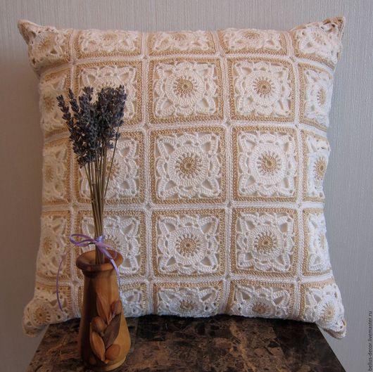 Текстиль, ковры ручной работы. Ярмарка Мастеров - ручная работа. Купить Декоративная вязаная подушка. Handmade. Комбинированный, подушка на диван