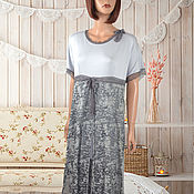 Одежда handmade. Livemaster - original item Gray knitted elegant dress for summer