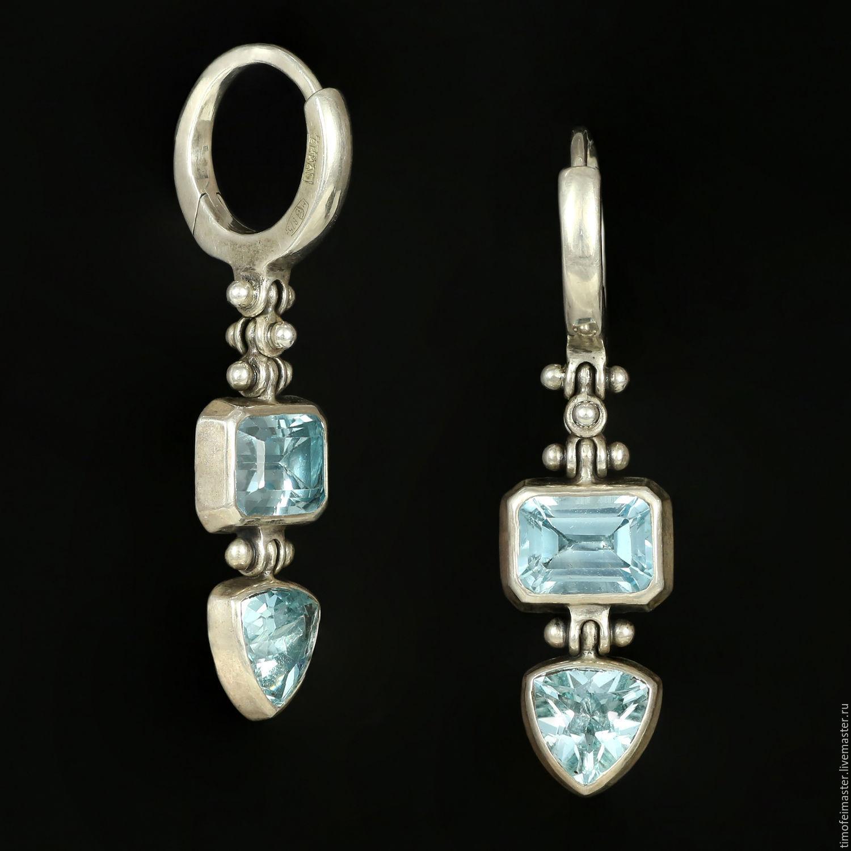 Серьги с голубым топазом. Серьги серебро топаз. Голубые серьги.Серьги топаз  купить. c6fe2a2329d