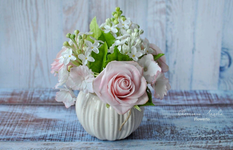 A bouquet of cold porcelain, Composition, Moscow,  Фото №1