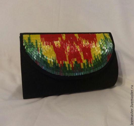 Женские сумки ручной работы. Ярмарка Мастеров - ручная работа. Купить клатч. Handmade. Черный, адрас, стильный аксессуар, стеклярус