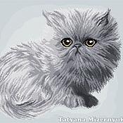 """Материалы для творчества ручной работы. Ярмарка Мастеров - ручная работа Схема вышивки крестом """"Серый котёнок"""". Handmade."""