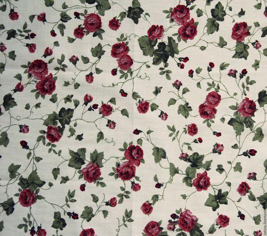 Шитье ручной работы. Ярмарка Мастеров - ручная работа. Купить Ткань хлопок премиум  Розы на молочном( прованс, шебби). Handmade.