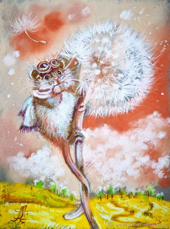 Счастливый летчик - картина на бумаге, Картины, Москва,  Фото №1
