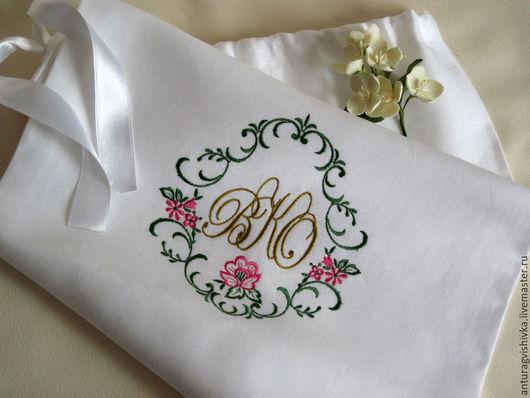 Свадебные аксессуары Мешочек для подарка именной мешочек Именная вышивка Монограмма