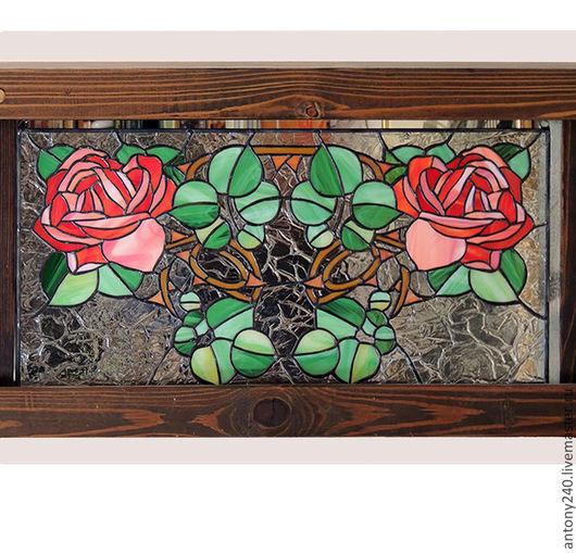 """Картины цветов ручной работы. Ярмарка Мастеров - ручная работа. Купить Витраж панно """"Розы Art Nouveau"""". Handmade. Разноцветный"""