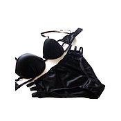 Одежда ручной работы. Ярмарка Мастеров - ручная работа Комплект нижнего белья из натурального шелка Сексуальный Черный. Handmade.