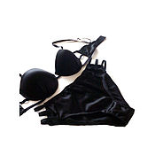 Одежда handmade. Livemaster - original item Underwear set made of genuine silk Sexy Black. Handmade.