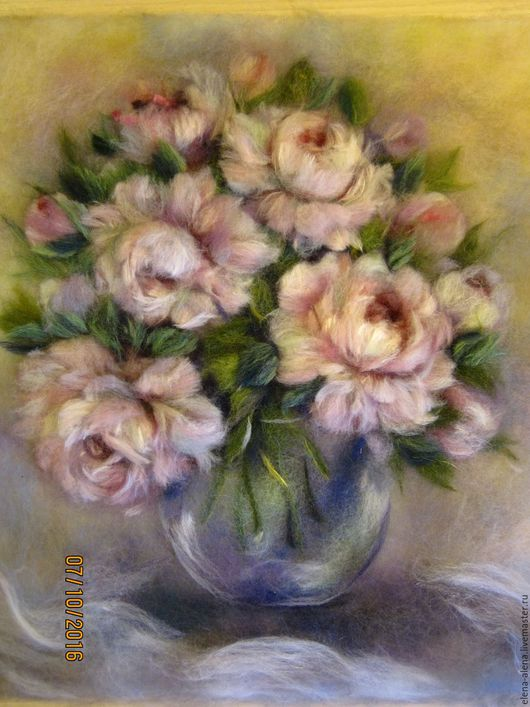Картины цветов ручной работы. Ярмарка Мастеров - ручная работа. Купить Картина из шерсти Пышные пионы. Handmade. Розовый