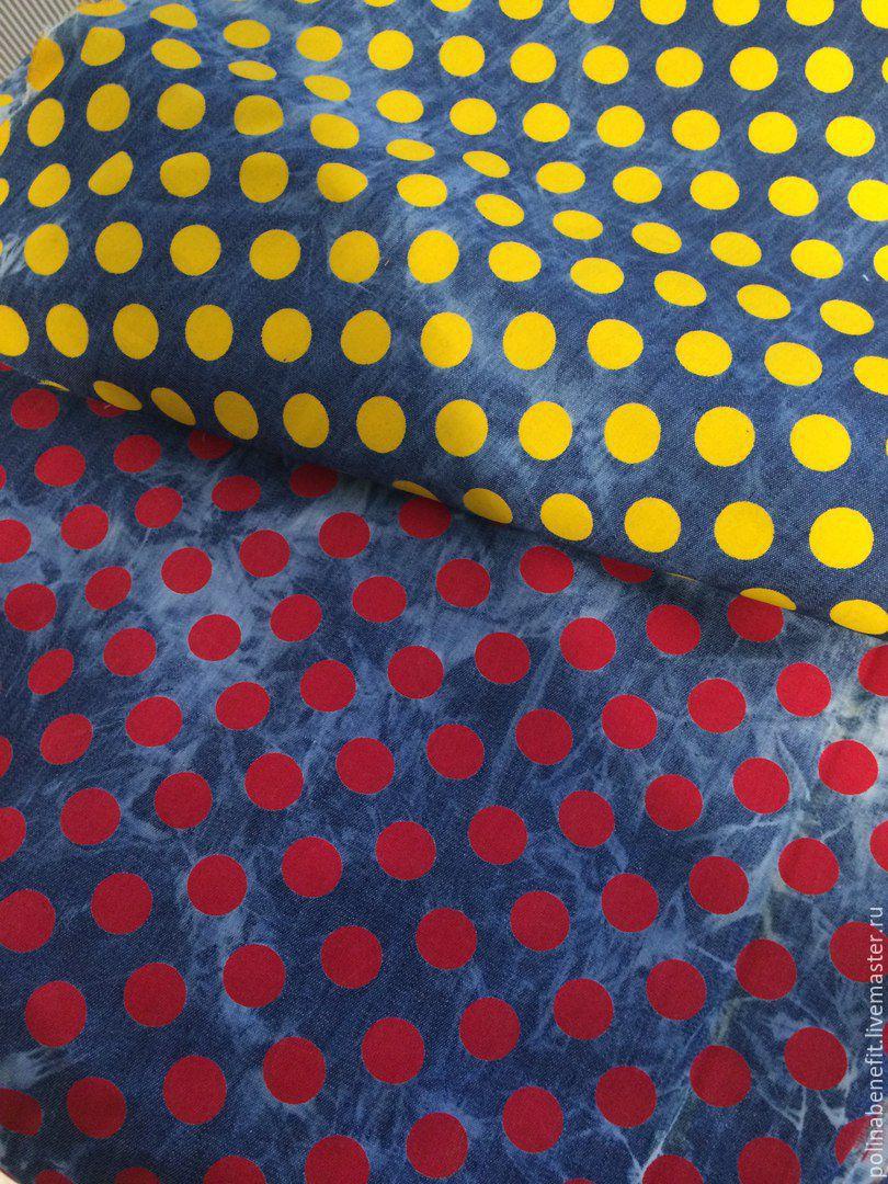 6c3acb557b4 Джинсовое платье в горох с открытыми предплечьями. Polina Benefit. Ярмарка