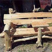 Для дома и интерьера handmade. Livemaster - original item Garden bench made of solid pine and snags with a table. Handmade.