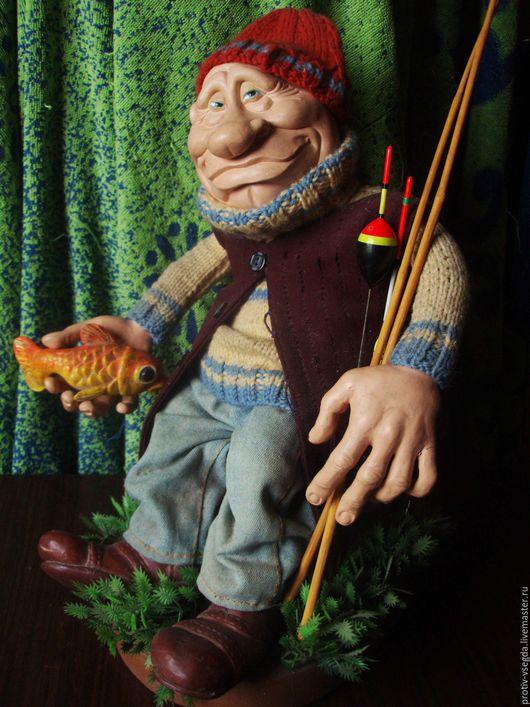 Коллекционные куклы ручной работы. Ярмарка Мастеров - ручная работа. Купить Рыбачок. Handmade. Золотой, смешной подарок, пряжа шерстяная