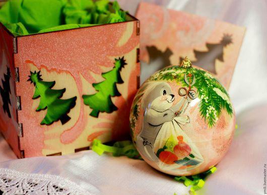 Роспись по дереву. Шар шкатулка для сюрпризов, сувениров. новогодний подарок, рождественский подарок. розовый, оранжевый, персиковый.