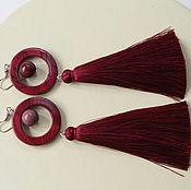 Украшения handmade. Livemaster - original item Earrings long with tassels Bordeaux. Handmade.