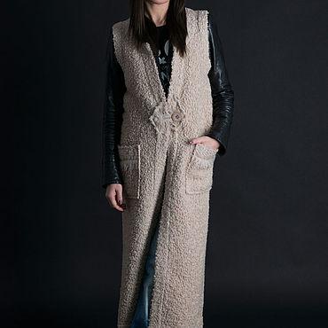 Clothing handmade. Livemaster - original item Beige sleeveless vest - VE0020WB. Handmade.