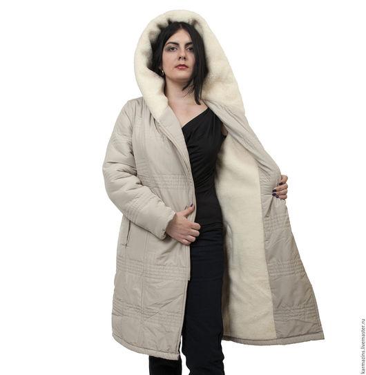 Верхняя одежда ручной работы. Ярмарка Мастеров - ручная работа. Купить МАРИЯ СИЛВЕР Женское пальто с капюшоном из шерсти Мериноса. Handmade.
