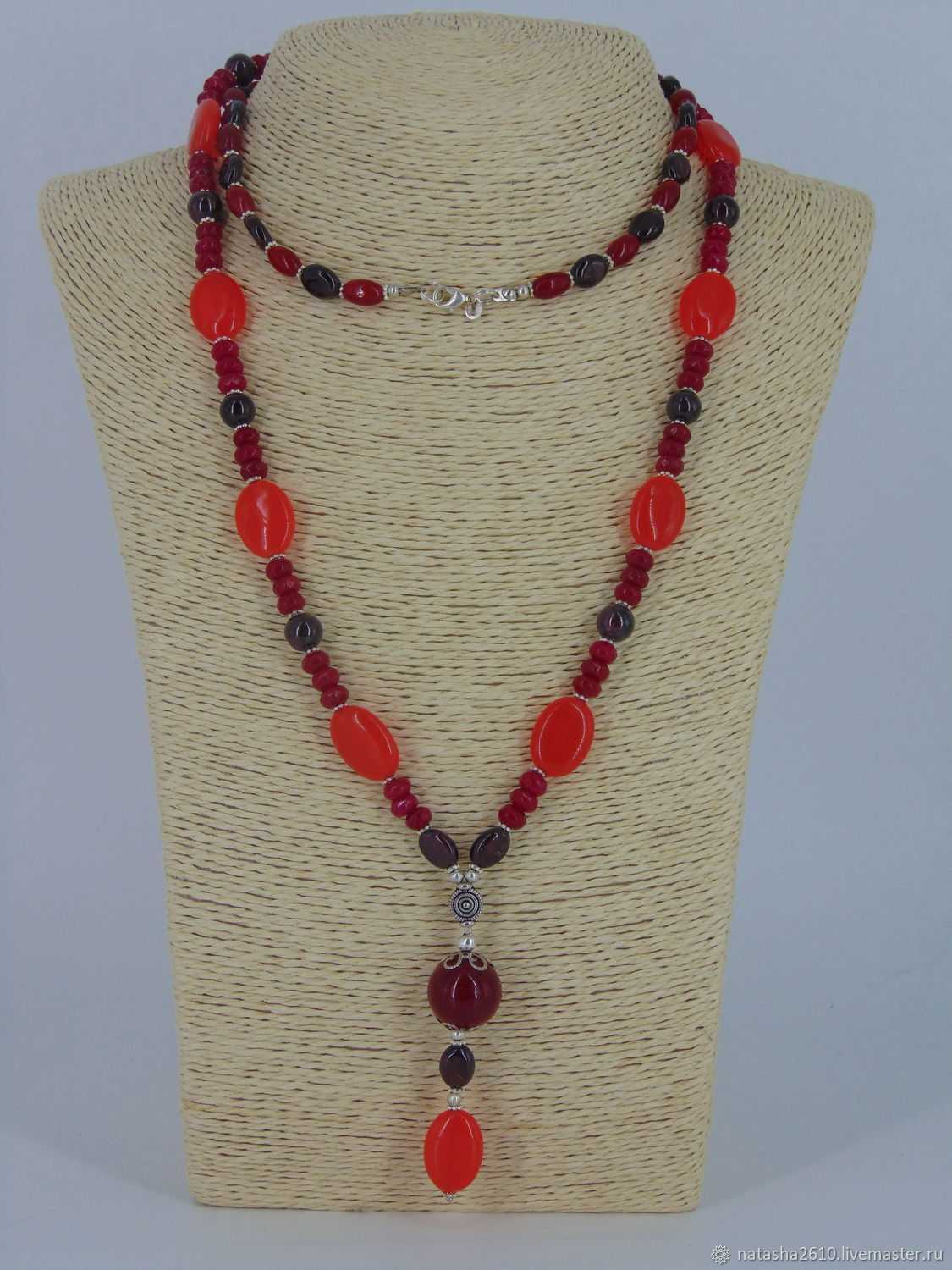 With pendant (long necklace) made of natural stones 'Variation', Necklace, Velikiy Novgorod,  Фото №1