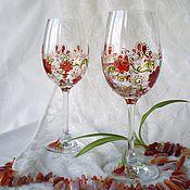 """Посуда ручной работы. Ярмарка Мастеров - ручная работа Бокалы """"Цветочный вальс"""". Handmade."""