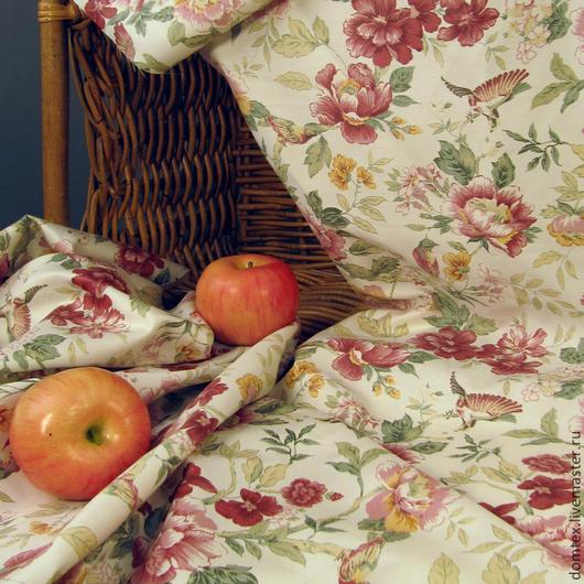 Ткань Прованс. Ткань в цветочек. Материалы для творчества. Шторы. Покрывало. Подушки. Птицы. Цветы. Гостиная. Кухня. Спальня.