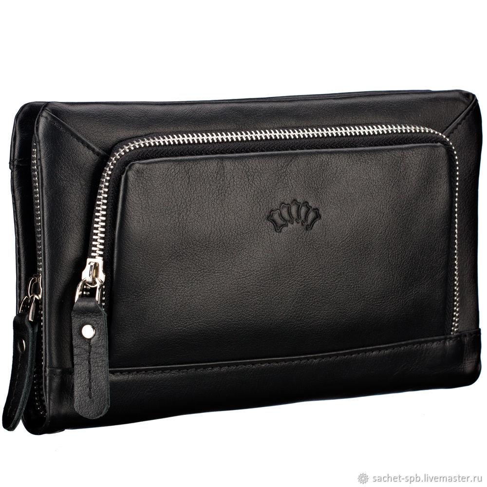 Leather clutch bag 'Gregory' (black), Wallets, St. Petersburg,  Фото №1