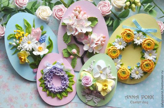 """Яйца ручной работы. Ярмарка Мастеров - ручная работа. Купить Пасхальные сувениры """" Easter day"""". Handmade. Разноцветный, ромашка"""