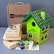 """Для дома и интерьера ручной работы. Ярмарка Мастеров - ручная работа Скворечник """"Отель Зеленый"""" набор для сборки с красками и контурами. Handmade."""