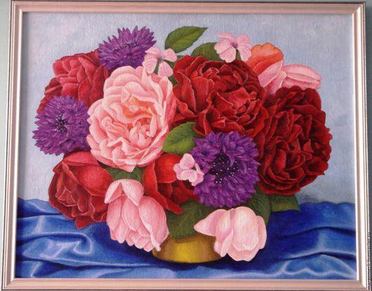 Картины цветов ручной работы. Ярмарка Мастеров - ручная работа. Купить Букет цветов. Handmade. Комбинированный, цветы, букет