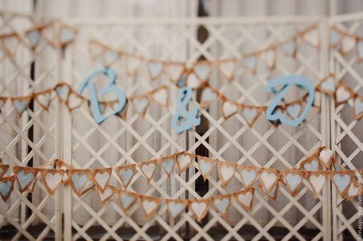 Свадебные аксессуары ручной работы. Ярмарка Мастеров - ручная работа. Купить Гирлянда из мешковины. Handmade. Комбинированный, гирлянда из флажков, бумага