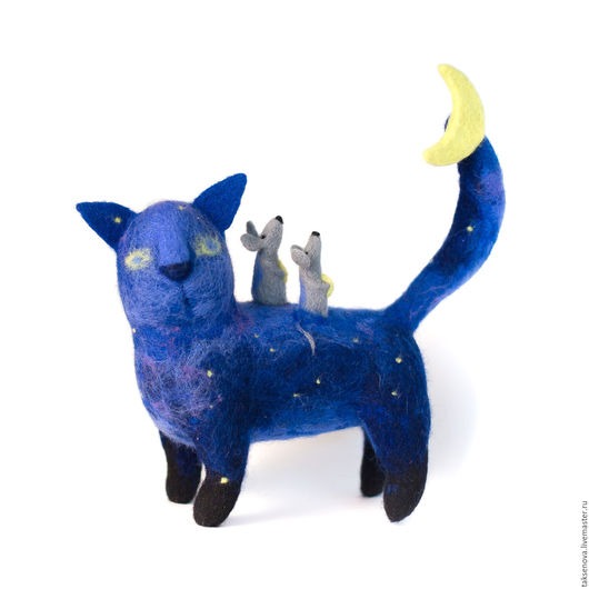 Коллекционные куклы ручной работы. Ярмарка Мастеров - ручная работа. Купить Валяный из шерсти кот Сказочная ночь. Handmade. Комбинированный